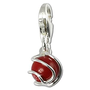 SilberDream 925 Sterling Silber Charm Kugel Koralle rot Charms Anhänger für Armband Kette oder Ohrring FC250R