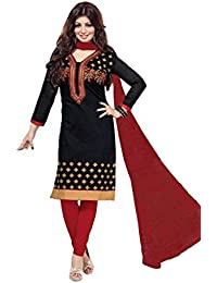 S.B CREATION Womens Cotton Black&Red Embroidery Salwar Suit Sets(black_freesize_salwarsuit)
