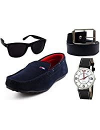 Cognac Combo Men's Loafer Casual Moccasin Shoes With Cognac Branded Watch, Sunglass & Synthetic Leather Belt.