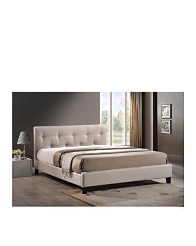 Baxton Studio Annette Full Size Linen Modern Bed With Upholstered Headboard, Light Beige