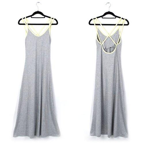 Museya Rückenfreie Mode-Sommer-ärmellos-Low-Cut-Frauen Sexy Slim Fit Straps Maxi Kleid - freie Größe (grau)