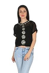 Aaliya Woman Polyester Georgette Short Sleeves Casual Top - Black, L