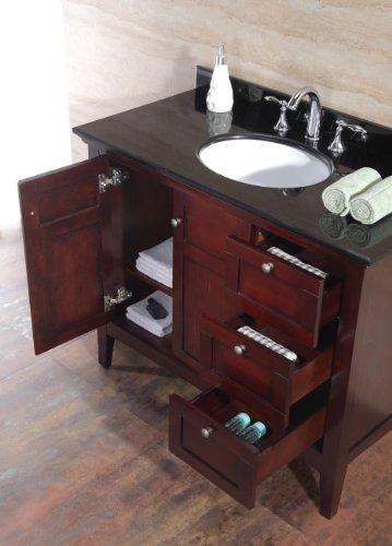 Ove Gavin 42 Bathroom 42 Inch Vanity Ensemble With Black Granite Countertop And Ceramic Basin