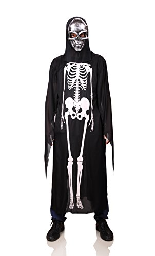 ProEtrade Halloween Skelekon Bone Costume Scary Cosplay With Skull Mask For Adult (Silver Skull) (Cute Scary Halloween Costumes)