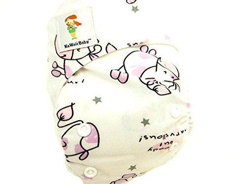 "Kawaii Baby Newborn Reusable Cloth Diaper Pure & Natural 6 - 22 Lb. With 2 Microfiber Inserts "" Shy Cow "" - 1"