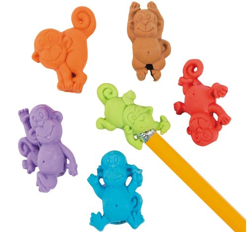 One Dozen (12) Monkey Pencil Top Erasers