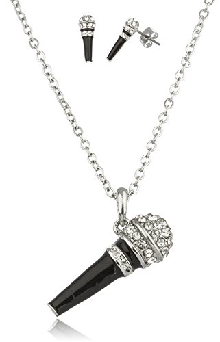 Silver With Black Microphone Pendant With Stones And An 18 Inch Link Necklace And Matching Earrings Jewelry Set