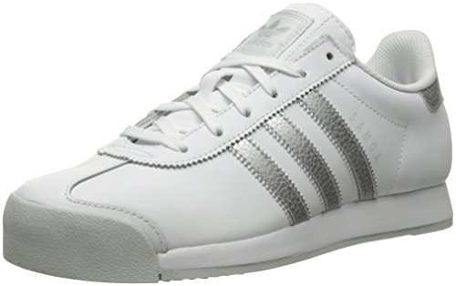 Adidas Originals Women's Samoa W Fashion Sneaker, White/Metallic Silver/Light Grey, 7.5 M US