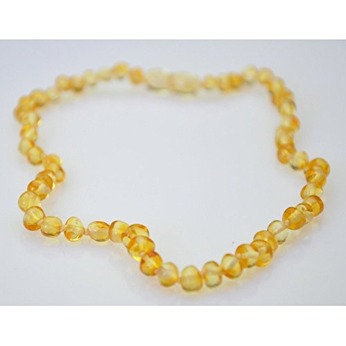 Baby Baltic Amber Teething Necklace - Baroque - Lemon front-592710