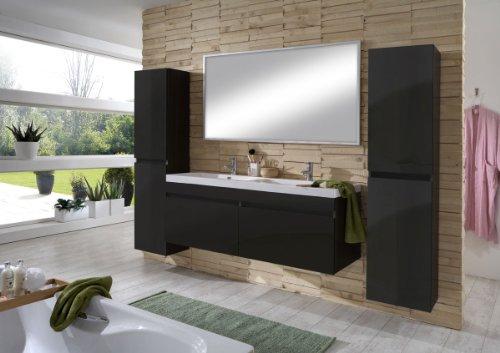 Sam design badm bel set parma hochglanz schwarz 4tlg for Design waschtischunterschrank