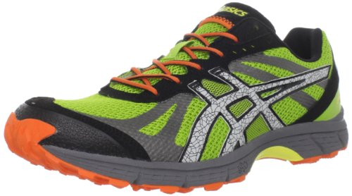 ASICS Men's Fuji Racer Trail Running Shoe,Lime/White/Flash Orange,10 M US