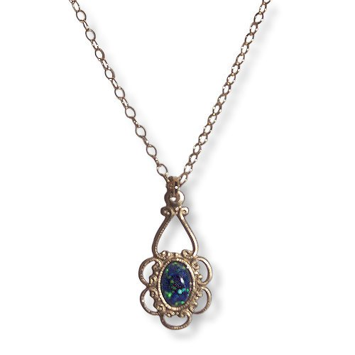 Childrens' Necklace Filigree Blue Opal 14K Yellow Gold Fill Adjustable Length