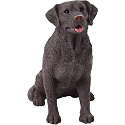 Sandicast Mid Size Chocolate Labrador Retriever Sculpture, Sitting