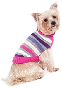 Fashion Pet Lookin Good Striped Turtleneck Sweater for Dogs, X-Small, Pink