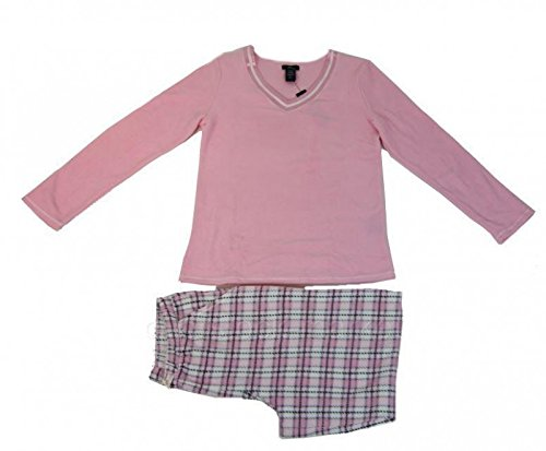 Aria Collection Womens Sueded Microfleece 2-Piece Pajama PINK PLAID Set SIZE:M New with Tag
