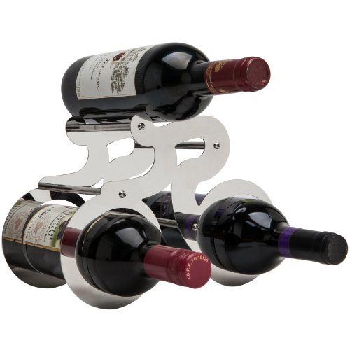 Artistic Bicycle Silver Steel Wine Rack Countertop Display Shelf Wine Storage Holder front-528799