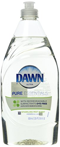 Dawn Dish Soap, Ultra Pure Essentials Dishwashing Liquid, Clear/Straw color - no dyes, Sparkling Mist, 21.6 Ounce (Pack of 2) (Hypoallergenic Dishwashing Liquid compare prices)