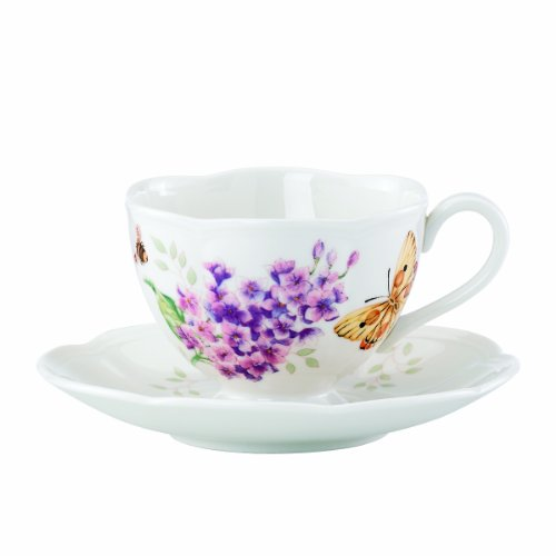 Lenox Butterfly Meadow Orange Sulphur 8-Ounce Cup And Sauce Set