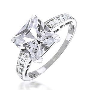 Bling Jewelry Sterling Silver 2,9 ct Princess Cut CZ bague de fiançailles
