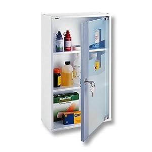 XL Medizinschrank Arzneischrank weiß Massivholz + Glas 48 cm
