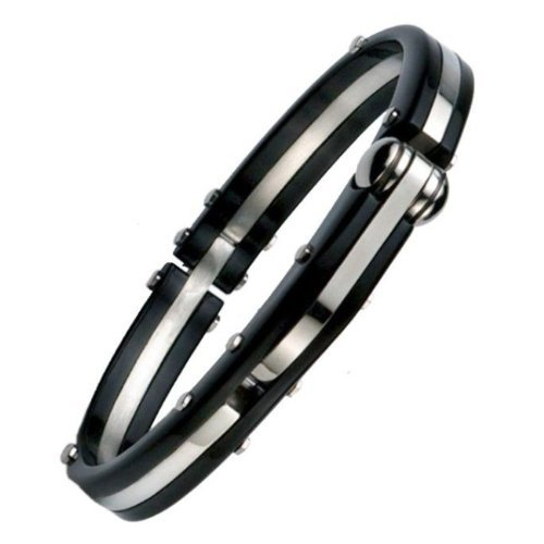 Mens 316L Stainless Steel Black Handcuff Bangle Bracelet Polished by R&B Jewelry