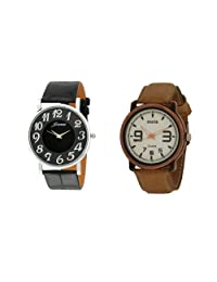 Oura Round Casual Wear Watch For Men Combo OF 2pc - B01AZGXKSC