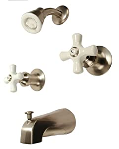 Two Handle Tub Shower Faucet Satin Nickel Finish Porcelain Handle Co