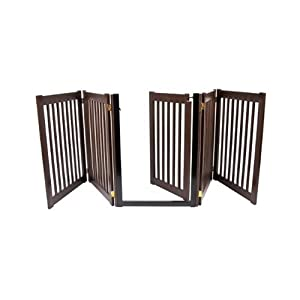 The Highlander Series 5-Panel Walk Through Pet Gate - Mahogany