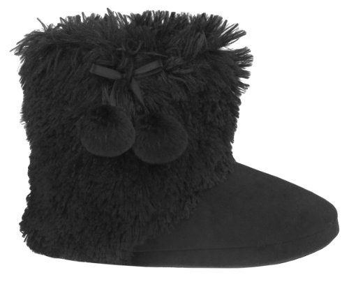 Cheap Capelli New York Shaggy Faux Fur Slipper Boot With Pom Tie Trim Lining Ladies Indoor Slipper (B005MJYU00)