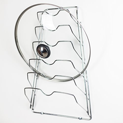HUJI Wall Cabinet Door Mounted Pot Lid Rack Organizer (1, Chrome) (One Pot Lid compare prices)