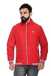 Trufit Full Sleeves Solid Men's Red Hidden Hood High Neck Lightweight Sports Polyester Blend Jacket without Filler