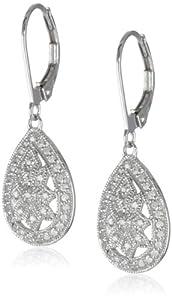 10k White Gold Filigree Teardrop Diamond Earrings (1/4 cttw, I-J Color, I2-I3 Clarity)