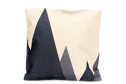 Kissenbezug Nova 40x40cm Kissenhülle schwarz grau beige Ethno Berge Dreiecke Leinen Optik Kissen Dekokissen