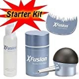XFusion Tool Kit for thinning hair with applicator bottle, Hairline Optimizer, Fiberhold Spray and XFusion Hair Fiber-GRAY