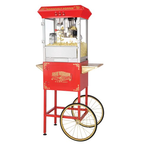 Great Northern Popcorn Red Roosevelt 8 Ounce Antique Popcorn Machine and Cart Discount