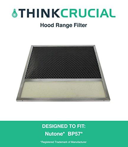 Nutone Broan Aluminum Vent Hood Filter With Charcoal Pad Fits Range Hood Series 43000, 11-3/8