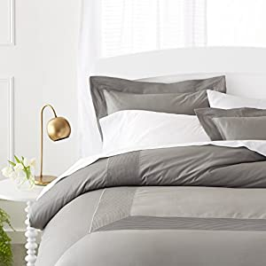 Pinzon 400-Thread-Count Pleated Hem  Egyptian Cotton Sateen Duvet Set - Full/Queen, Sterling