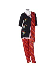 UBIQUE Handwork On Black Cotton Top With Cotton Semi-patiala & Dupatta (LM036)
