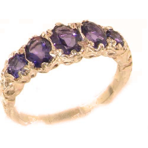 High Quality Solid Rose Gold Natural Amethyst English Victorian Ring - Size 9.25 - Finger Sizes 4 to 12 Available