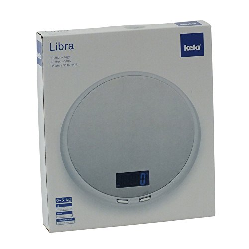 Kela 11548 balance de cuisine digitale, ronde, diamètre 19 cm, inox, blanc, 'Libra'