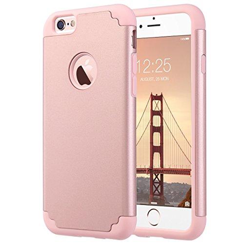 iPhone 6 Plus Case, iPhone 6S Plus Case, ULAK Slim Dual Layer Protective Case Fit for Apple iPhone 6 Plus (2014) / 6S Plus(2015) 5.5 inch Hybrid Hard Back Cover and Soft Silicone-Rose Gold (Protective Iphone 6 Case Silicone compare prices)