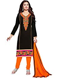 Manvaa Women's Black Embroidered Chudidar Dress Material