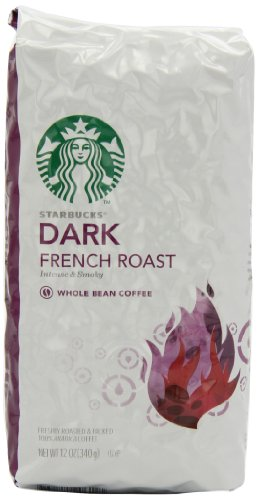 Starbucks Dark French Roast Coffee, Whole Bean, 12 Ounce (Pack of 6)