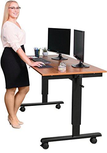 Kurbelverstellbarer-Sitz-Stehtisch-Wohnung-Schreibtisch-Rahmen-schwarz-Teakholz-Schreibtisch-Lnge-150cm