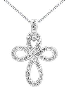 "Carissima 9ct White Gold 0.23ct Diamond Swirl Cross Pendant on Curb Chain Necklace 46cm/18"""