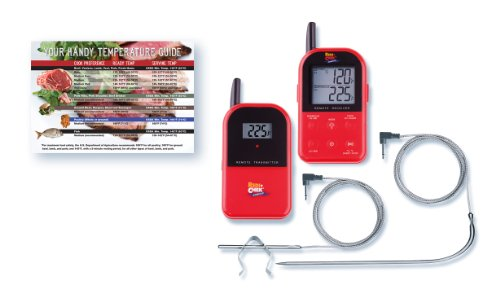 Maverick ET732 Red Long Range Wireless Dual 2 Probe BBQ Smoker Meat Thermometer Set With Meat Temperature Magnet Guide