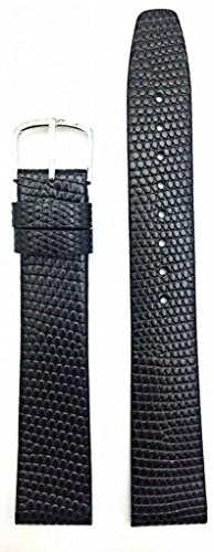 18Mm Long Round Lizard Grain, Flat, Black Watch Band