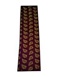 JDK Novelty Brocade Unstitched Fabric - Purple base red small leaf-gold leaf design (A-7_1) One meter long