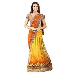Yellow and Orange With Net Designer Lehenga Saree