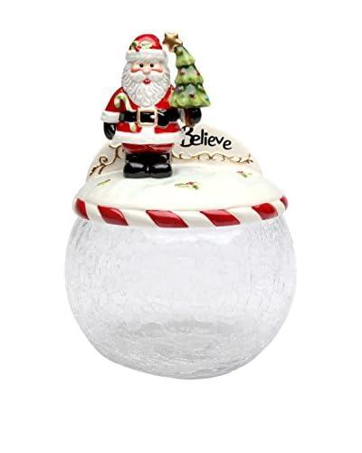 Cosmos Santa Tree Glass Cookie Jar with Ceramic Lid